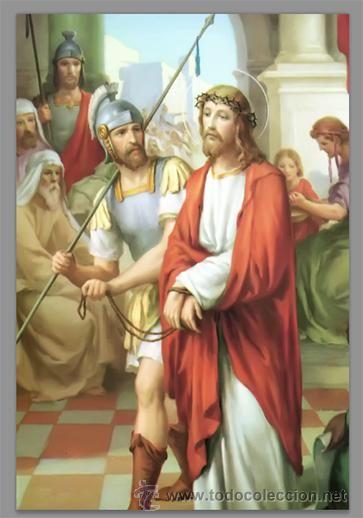 Precioso conjunto de 15 azulejos 20x30 de las estaciones del Via crucis.