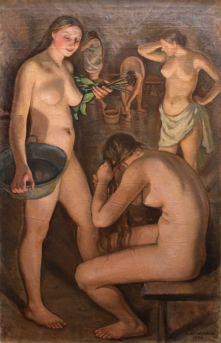 Zinaida Serebriakova - Russian bath, central part, Triptych (1926)