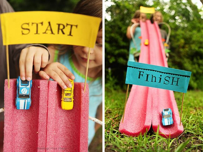 DIY Toy Car Race Track - Another great use for the pool noodle! #toycars #kidfun