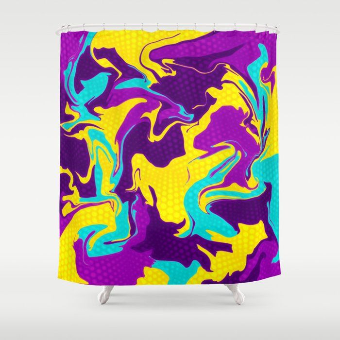 Yellow And Purple Psychedelic Shower Curtain By Bigtexfunkadelic