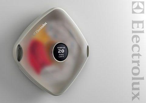 Electrolux lavatrice murale  Una  lavatrice dai tratti futuristici che si appende al muro, occupa poco spazio e si può staccare e trasportare per stendere i panni senza passare dal cestino.