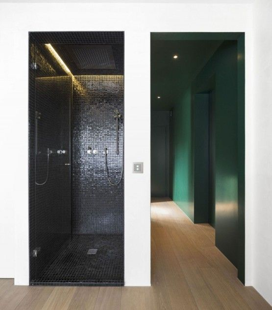 comfortable haus von arx interior design ideas in black color design plan small tiles finished with shower room