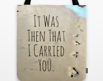 Check out Footprints Tote Bag, Faith tote bag, Footprints poem, footprints in sand, beach tote, blue and tan, Religious gift, Christian Tote, Poem Bag on mayaredphotography