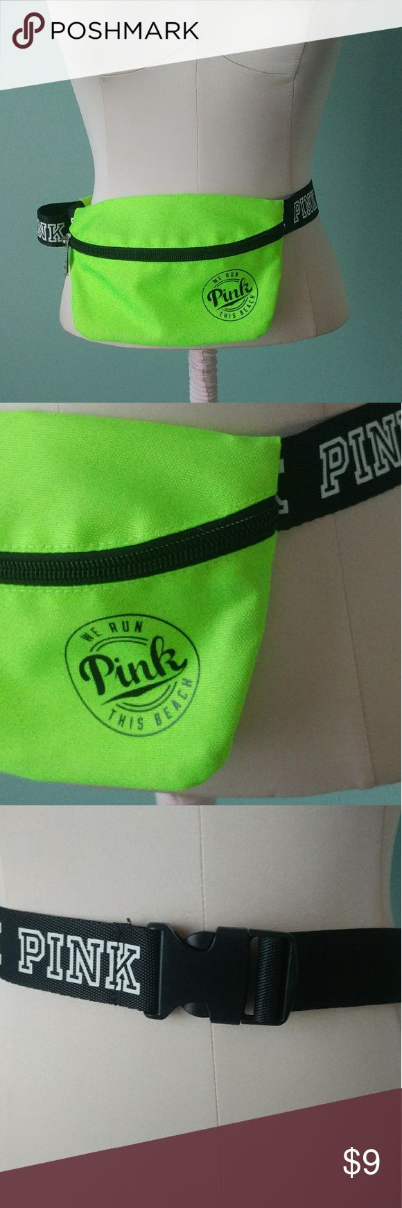 PINK fanny pack Summer is here! When you just need a couple things, throw on this awesome neon green fanny pack! I'm sure there's some cool new name for them haha! Never worn. The strap is really long so it would fit a lot of sizes! PINK Victoria's Secret Bags Mini Bags