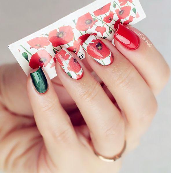 Полный ногтей наклейки вода наклейка горячий Красный цветок шаблон XF1390 Ногтей Наклейки Ногтей Искусство Украшения