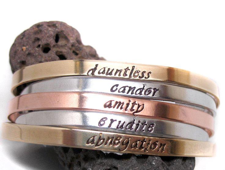 Divergent Faction Names - Aluminum, Brass or Copper Bracelet