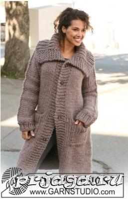 Вязаные пальто спицами