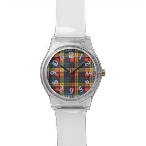 Buchanan Family clan Plaid Scottish kilt tartan Wrist Watch #tartan #pattern #watches