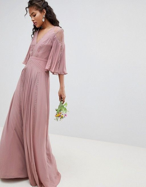 2a1b0e36212d05 ASOS Tall | ASOS DESIGN Tall Bridesmaid pleated panelled flutter sleeve  maxi dress with lace inserts