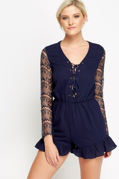 Lace Insert Sleeve Navy Playsuit
