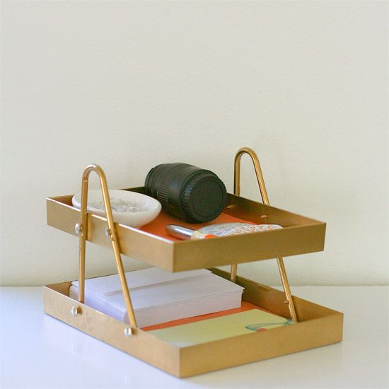 Make this chic desk organizer from a plastic hanger and lucite shadow box frames.