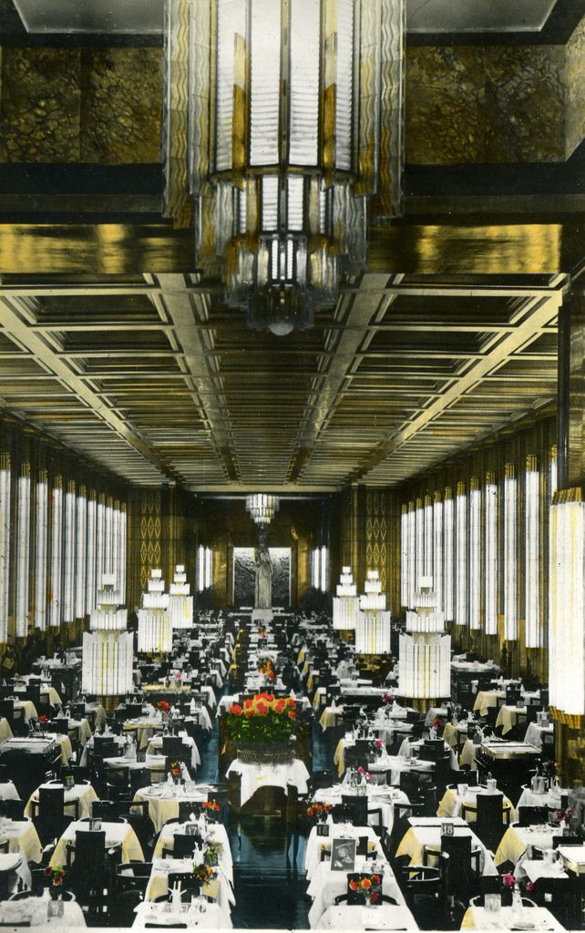 SS Normandie. Main Dining Room. She was the most magnificent liner ever built.