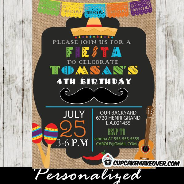 Celebrate your muchacho's birthday with this Mexican Mustache Fiesta Party Invitation with a fun typography featuring colorful papel picado banner, a guitar, chillies and maracas against a black backdrop with a touch of burlap. #cupcakemakeover