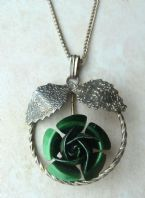 Vintage Green Rose Flower Pendant And Necklace.
