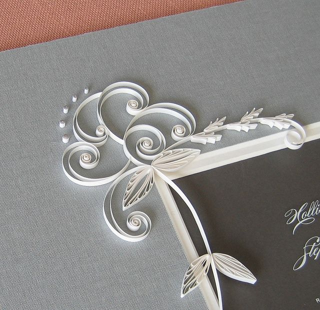 Quilled Wedding Invitation and Bridal Flower