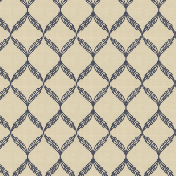 A Stitch in Time - Indigo:  This embroidered fabric has a blue lattice design on a warm beige background.