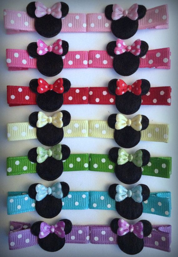 2 Boutique Girl Hair Clips Minnie Mouse Dots Hot Pink Dots Bowtique on Etsy, $2.49