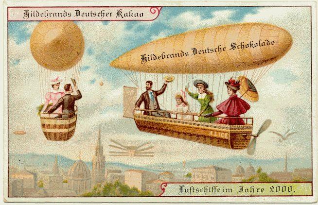 En 1900, des cartes postales imaginent l'an 2000 : machines volantes personnelles