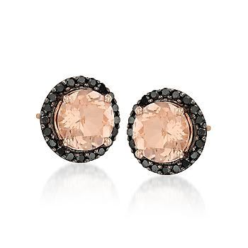 Ross-Simons - 2.00 ct. t.w. Morganite and .30 ct. t.w. Black Diamond Earrings In 14kt Rose Gold - #773750