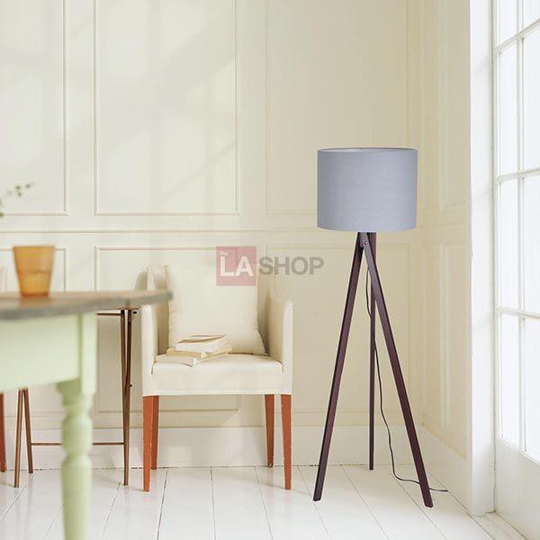 "57"" Wooden Tripod Floor Lamp Linen Shade Optional"