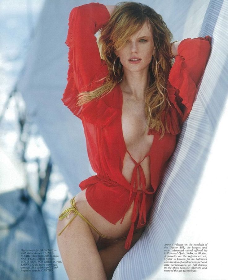 Anne Vyalitsyna wears red blouse and metallic bikini bottoms for Maxim Magazine September 2016