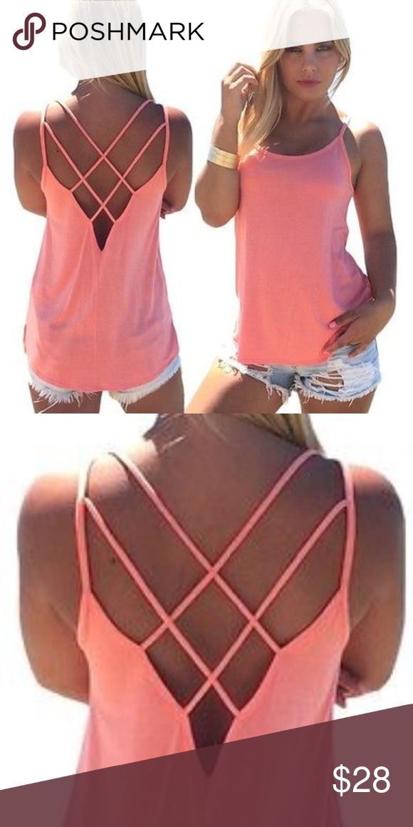 Baby Pink Strappy Tank  This strappy tank is a summer staple. 100% polyester, true to size. Slightly sheer so pair with a cute bandeau or lace bralette  Tops Tank Tops