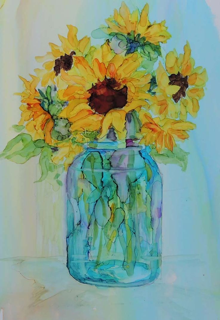 Various Ink Painting: Sunflower in a Glass | Copichttps://imaginationinternationalinc.com/copic/inspire/various-ink-painting-sunflower-glass/