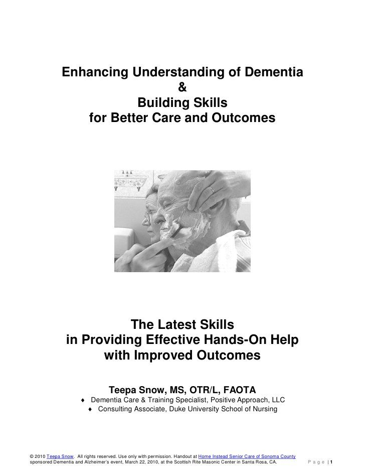 Teepa Snow Dementia Building Skill Handout by Home Instead Senior Care of Sonoma County, CA, via Slideshare