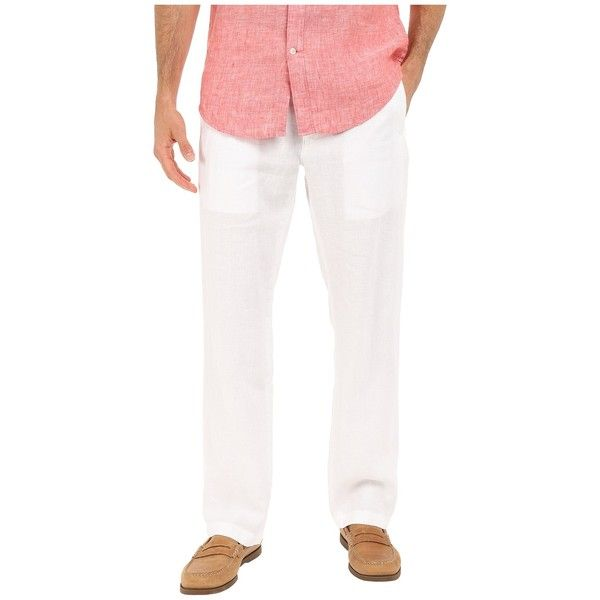 Perry Ellis Drawstring Linen Pants (Bright White) Men's Casual Pants ($50) ❤ liked on Polyvore featuring men's fashion, men's clothing, men's pants, men's casual pants, mens linen pants, mens zip off pants, mens lightweight pants, mens zipper pants and mens lightweight cotton drawstring pants