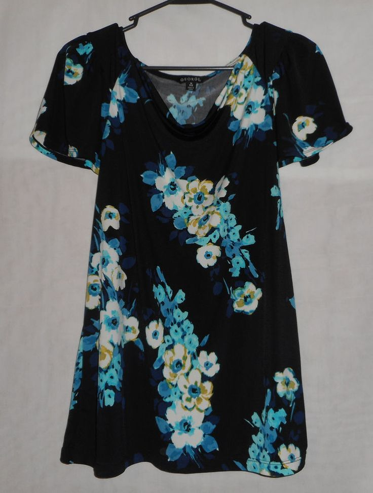 Cute Womens Size Medium 8/10 Black Blue & White Short Sleeve Top George Career #George #KnitTop #Career