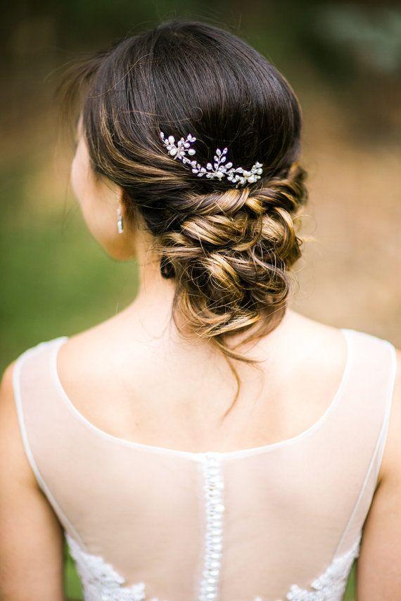 Freshwater pearl and rhinestone vine hair pins