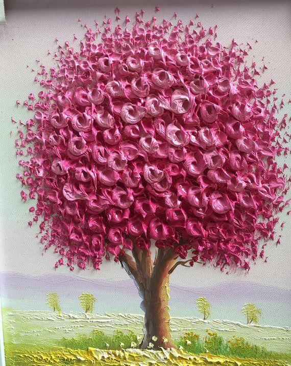 24 32インチ額装ハンド塗装現代家の装飾壁アート画像ピンクフラワーツリー厚いパレットナイフ油絵 画像あり 花 絵 花 壁紙 アート