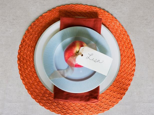 #Thanksgiving place setting--a mix of formal china and everyday dinnerware.