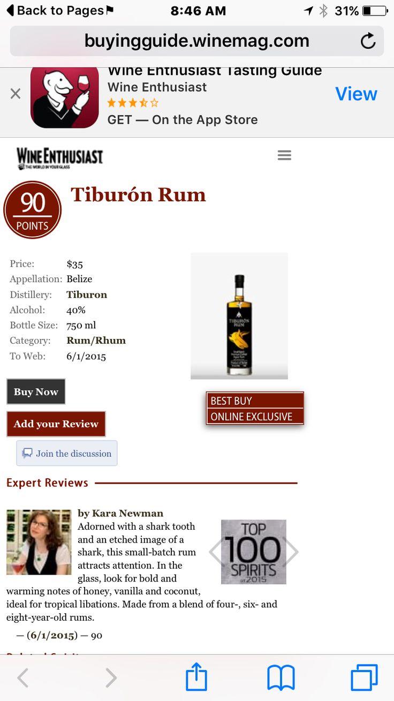 Tiburon rum named the top 100 spirits for 2015!!