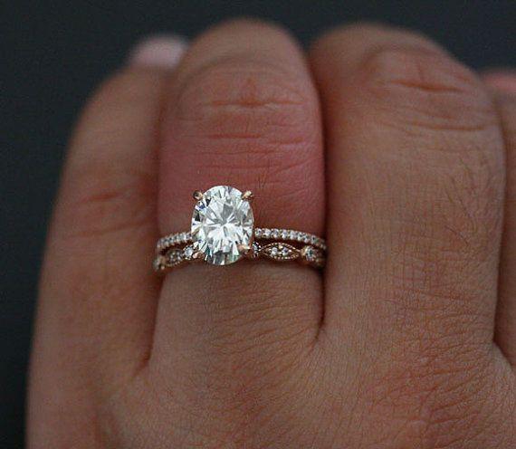 Moissanite Bridal Ring Set Forever Classic Oval And Diamond Milgrain Wedding