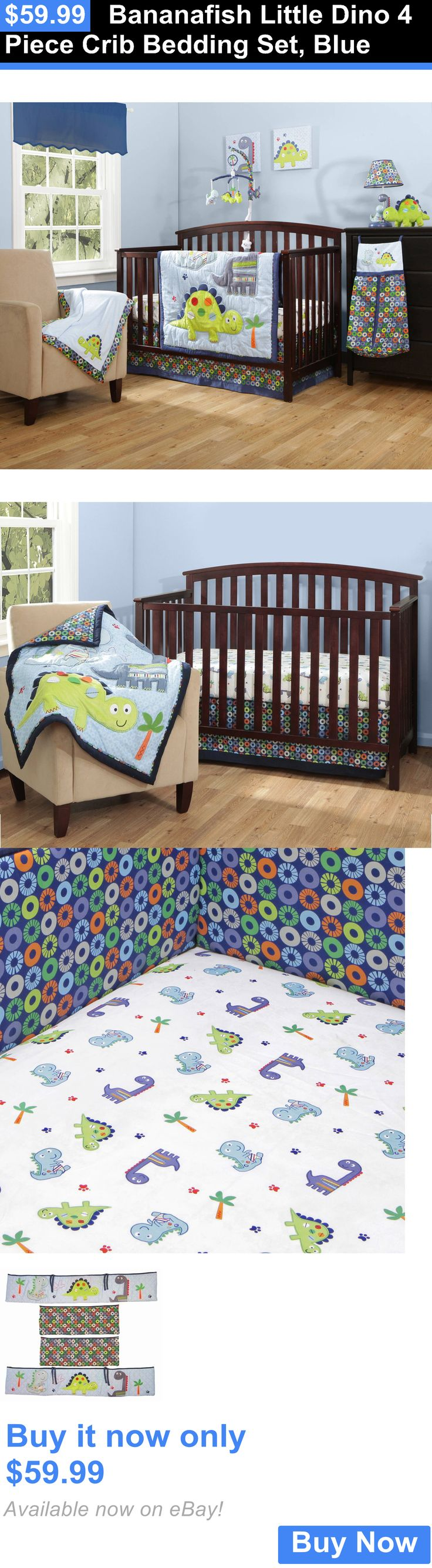 Baby Nursery: Bananafish Little Dino 4 Piece Crib Bedding Set, Blue BUY IT NOW ONLY: $59.99