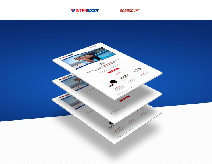 Webdesign, application facebook, social media, intersport, speedo, natation, sport, florent, blue