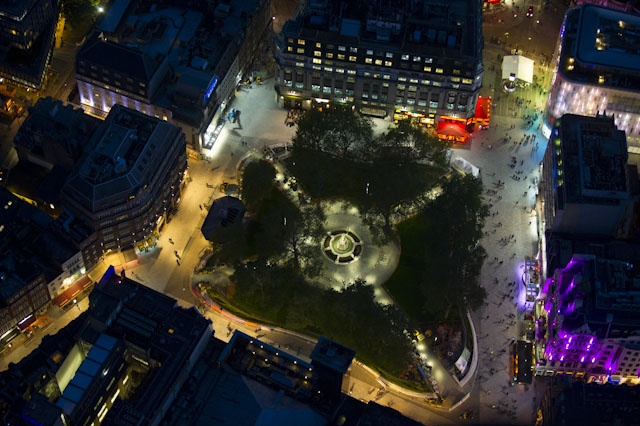 A colourful Leicester Square at night