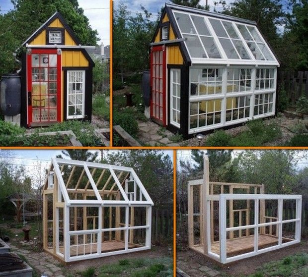13. A greenhouse made from old windows