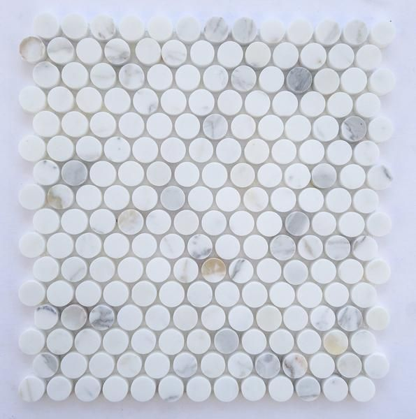 Buy Calacatta Gold Marble Polished Penny Round Mosaic Tile Sample Product Attributes - Item: Premium (SELECT) Quality Italian Calacatta Gold Marble POLISHED PENNY ROUND MOSAIC TILE (ON-MESH) - Dimensi
