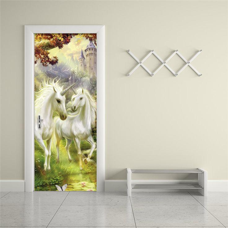 Papel де Parede 3D Классический белый конь лес обои гостиной исследование домашнего декора двери росписи виниловые наклейки Водонепроницаемый ст... | 32818636841_es