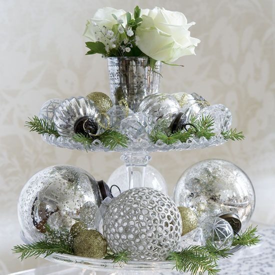 cake stand to display beautiful glittery, reflective, shiny ornaments...but with white poinsettias
