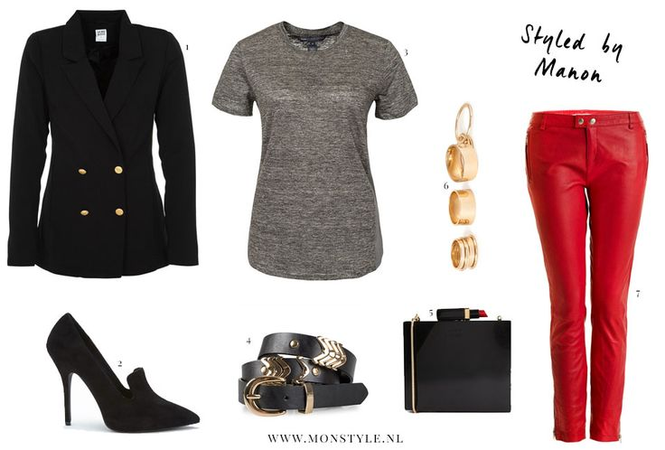 red leather pants outfit - Styled by Manon