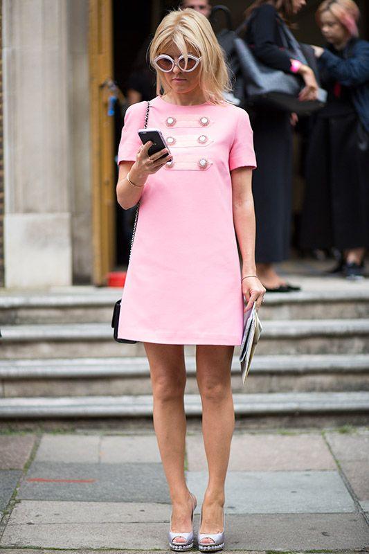SS16 streetstyle details white high heels  A-line pink dress  white sunglass