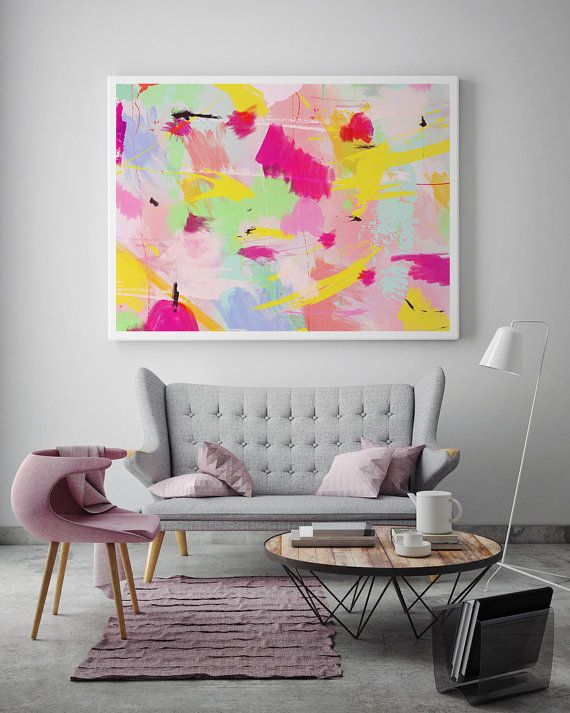Colorful Poster Abstract Art Paint Art Print Pastel Print