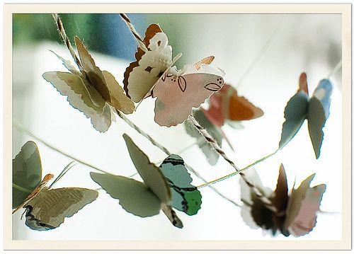 A string of paper butterflies.