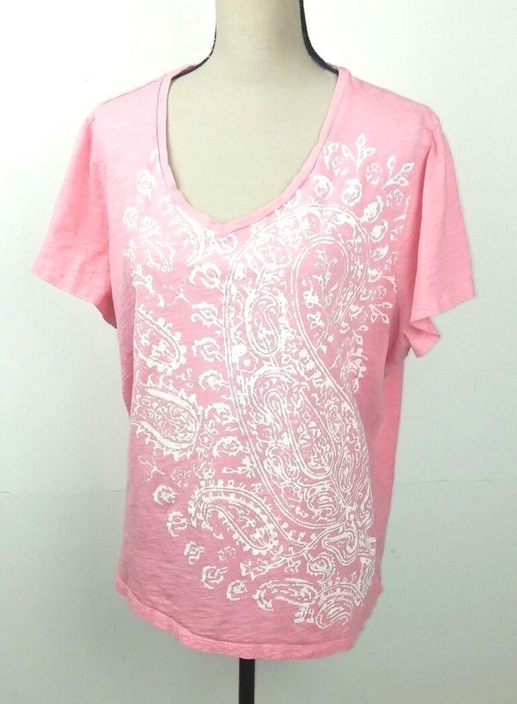 b6b4594a Sonoma Women's 2X T-Shirt Everyday Tee Pink White Paisley Short Sleeve  Cotton #Sonoma #TShirt #Casual