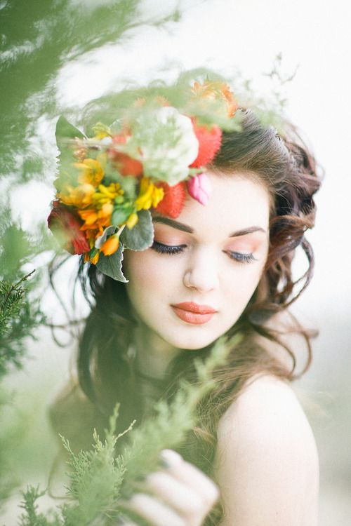 ❀ Flower Maiden Fantasy ❀ beautiful art fashion photography of women and flowers - orange accents
