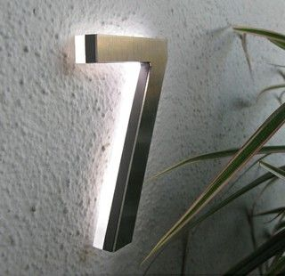 """Modern Led House Number 5"""" Outdoor By Luxello LED - modern - house numbers -  - by Surrounding - Modern Lighting & Furniture"""