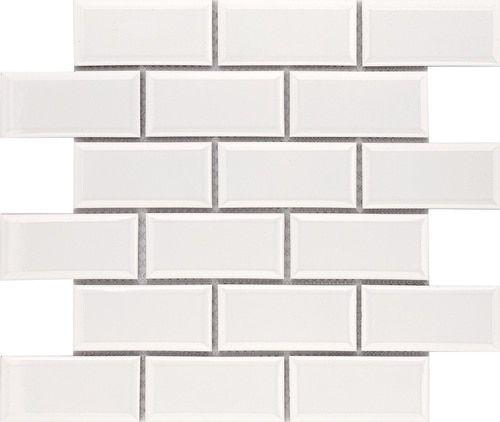Subway Tile 2×4 Glossy White Ice Beveled